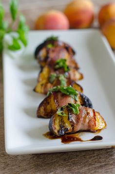 Grilled Bacon Wrapped Peaches with Basil and Balsamic
