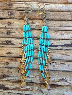 Turquoise seed bead earrings with amber colored beads, long fringe earrings, seed bead earrings, free people, festival fashion, boho fashion...
