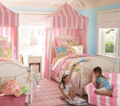 Pink and white stripe canopy