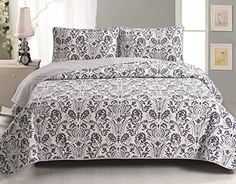 Home Fashion Designs Martinique Printed Quilt Set with Shams (Blue/Grey - Queen/Full - Queen/Full) Blue Bedding, Quilt Bedding, Comforter, Quilt Sets Queen, Geometric Pattern Design, Design Patterns, Affordable Bedding, Stylish Bedroom, Blue Quilts