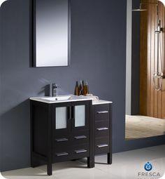 "Fresca 36"" Espresso Modern Bathroom Vanity w/ Side Cabinet, Mirror & Faucet"