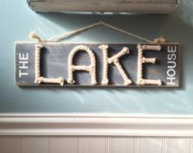 The lake house sign - nautical rope sign - lake house decor - nautical sign…