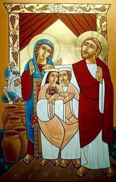 Wedding at Cana (coptic) Religious Icons, Religious Art, Russian Icons, Biblical Art, Catholic Art, Orthodox Icons, Sacred Art, Christian Art, Art Images