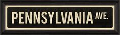 Pennsylvania Avenue Framed Street Sign from www.wellappointedhouse.com #homedecor #decorate #wallart #wallbrackets #plateholders
