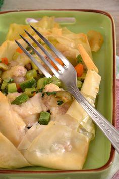 Caryoccio di pasta fillo con palombo e verdure