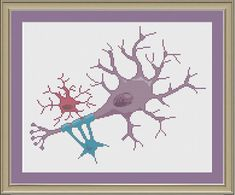 Heres a pretty depiction of a neuron (and two glial cells).    This listing is for a pattern only --- not a completed project    Dimensions