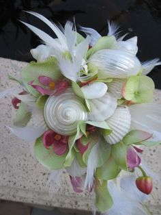 starfish bridal bouquets | ... Bridal Bouquet inTropical Pink and Green Seashell n Starfish for Beach