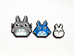-Totoro (Big) (5 1/2 in. x 5 3/4 in.) -Chu-Totoro (Med.) (4 3/4 in. x 4 1/2 in.) -Chibi-Totoro (Small) (3 in. x 3 3/4 in.) Available as magnets, necklaces, keychains, and nothing (As-Is) on my etsy...