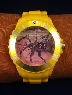 Racehorse background watch face Bold Yellow by TheBigMaresBarn, $18.00