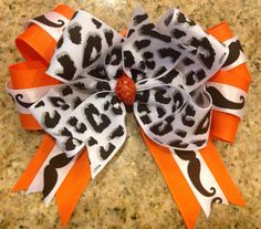 Boutique Mustache Animal Print Hair Bow MTM School Team Colors on Etsy, $7.00