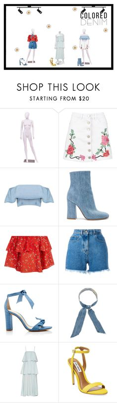 """color and denim"" by heyjorge on Polyvore featuring Boohoo, Gianvito Rossi, Alice + Olivia, Philosophy di Lorenzo Serafini, Alexandre Birman, donni charm, Raey and Steve Madden"