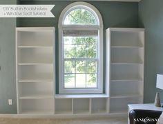 DIY Built-in Bookshelves + Window Seat - Fenster Living Room Bench, Living Room Windows, Dining Room, Built In Bookcase, Bookshelves, Bookshelf Styling, Window Benches, Window Seats, Playroom Storage