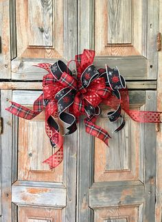 The Tabitha Christmas Tree Topper Bow Red Black // Farmhouse Christmas Bow  // Wreath Bow // Swag Bow // Ribbon Topper //Mailbox Bow By CrestedPerch On  Etsy