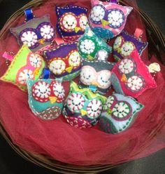 Mini Felt Owl Plush Christmas Ornaments Keychain Tag Party Favors - Set of 12