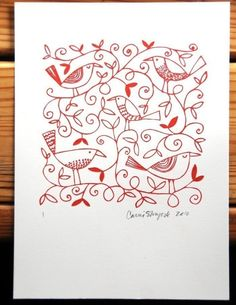 red letterpress birds