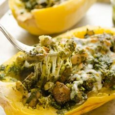 Cheesy Pesto Vegetarian Spaghetti Squash Boats are spaghetti squash halves stuffed with sauteed mushrooms, white beans, kale pesto, and plenty of cheese.  This is lightened up comfort food at it's best! I have a love/hate relationship with running.  I love that it's one of the most effective ways to stay fit, but I kind of hate the...Read More »
