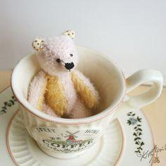 Miniature Teddy Bear Cream Primrose 3 inch by KittyAprilHandmade, $64.00