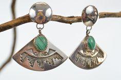 Native American Silver Earrings Inlaid Malachite Stone on Tribal Silver Fan