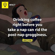 Drinking coffee right before you take a nap can rid the post-nap grogginess. Wierd Facts, 8 Facts, Weird But True, Intresting Facts, Real Facts, True Facts, Funny Facts, Random Facts, Crazy Facts