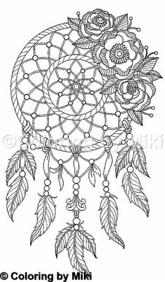 168 Best DreamCatcher Coloring Pages for Adults images
