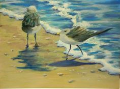 Seagulls On The Beach Oil painting on canvas board original artwork 12 X 16 inches SOLD!! THANK YOU!!
