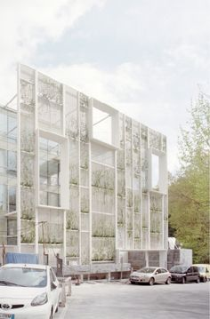 Sea Arts Hotel / Camogli GE IT / Gosplan (green facade 'growth in progress'): Parking Building, Building Facade, Facade Design, Exterior Design, Green Architecture, Architecture Design, Mall Facade, Green Facade, Hospital Design
