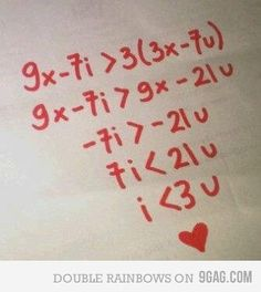 """My inner math nerd heart just exploded a little. Then my actual math nerd said read it out loud. """"I is less than 3 of u"""" Nerd Love, My Love, Love You Cute, Love Letters, Alphabet Letters, Geek Stuff, Lettering, Cool Stuff, Random"""