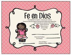 Certificado Fe en Dios para Niñas