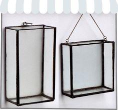 hanging terrarium planters / display boxes - not a howto, but aquarium cement over aluminum edges would do it.