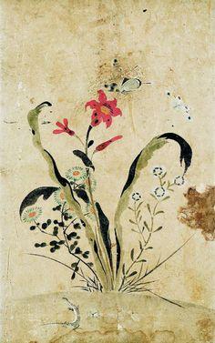 (Korea) Painting album, 환원석죽 by Lady Shin Saimdang (1504- 1551). 41.0× 25.7cm. color on silk. Gansong gallery, Korea.
