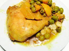 poulet, oignon, ail, citron confit, citron, gingembre, curcuma, cumin en poudre, olive verte, coriandre, huile d'argan, eau, Poivre...