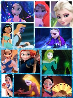 Elsa as: Pocahontas, Ariel, Merida, Anna, Tiana, Cinderella, Mulan, Rapunzel, Sleeping Beauty, Belle, Jasmine, and Snow White.