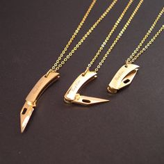 REAL Working Golden Tiny Folding Knife Necklace YOU by YOUgNeek