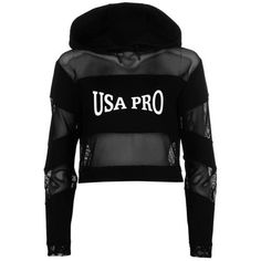 USA Pro Little Mix Mesh Hoody Ladies (€20) ❤ liked on Polyvore featuring tops, mesh top and usa pro