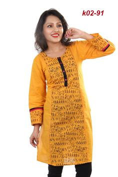 yellow color warly design exclusive kurtis manufacturers