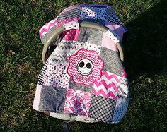 Disney Nightmare Before Christmas - Jack Skellington Baby Infant Car Seat Cover PINK/ Nursing Cape / Blanket w/ pocket!