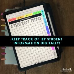Organize IEP student information digitally! An interactive PDF that is perfect for use with the Good Notes app. Best Notes App, Good Notes, Owl Theme Classroom, Kindergarten Classroom, Classroom Ideas, Reading Task Cards, Guided Reading, Master Schedule, My Teacher