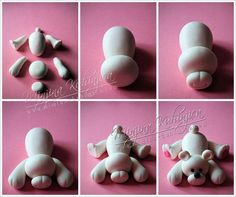 Fondant Figures Step by Step - Bing images Polymer Clay Miniatures, Polymer Clay Projects, Polymer Clay Creations, Cake Topper Tutorial, Fondant Tutorial, Fondant Toppers, Fondant Cakes, Fondant Dog, Cupcake Toppers