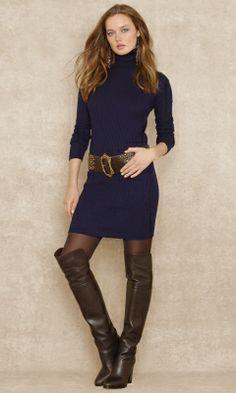 Jersey de cuello alto vestido de suéter - Blue Label Venta - RalphLauren.com
