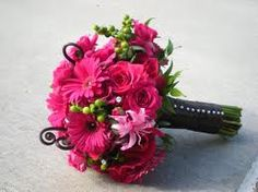 This bouquet is my favorite!  Hot pink and black wedding bouquets - Google Search