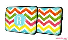 Bubblegum Basics - Rainbow #Chevron Monogram #MacBook #Laptop #Sleeve, PLEASE MAKE SURE YOUR DEVICE WILL FIT BEFORE ORDERING. (http://www.bubblegumbasics.com/rainbow-chevron-monogram-laptop-sleeve.html)