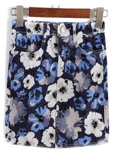 Flower Print Denim Bodycon Skirt 11.00