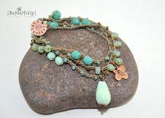 Bohemian Crochet Necklace, 3x Wrap Bracelet, Mint, Blue, Beach, Seahorse Charm, Bead Crochet Jewelry, Boho Chic Jewelry, Multi Wrap Bracelet