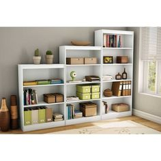 South Shore Pure White Axess 4-shelf Bookcase | Overstock.com Shopping - The Best Deals on Media/Bookshelves