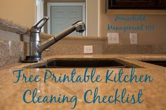 Free printable kitchen cleaning checklist, for daily, weekly and monthly tasks {on Household Management 101}