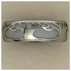 Custom tree-inspired wedding band for a client who works as an arborist.