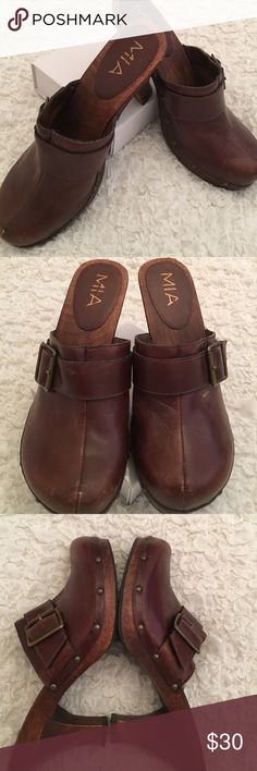 80317763be7 Mia Clogs Beautiful trendy MIA clogs in upper leather and wooden bottom in  very good condition. Reasonable offers will be accepted!