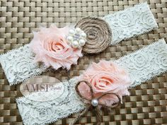 Wedding Garter Garter Belt wedding garter set bridal garter Lace garter Rustic…