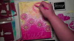 Strawberry and lemonade art journal with Carolyn Dube love the scribbled background technique m