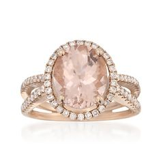 This is too big, but I like the way the setting looks. 3.18 Carat Morganite and .52 ct. t.w. Diamond Ring in 14kt Rose Gold